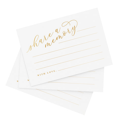 Gold Share A Memory Cards — Perfect for: Funeral, Celebration of Life, Memorial, Retirement, Going Away Party, Birthday, Graduation, Wedding — 50 Pack of 4x6 Cards from Bliss Collections