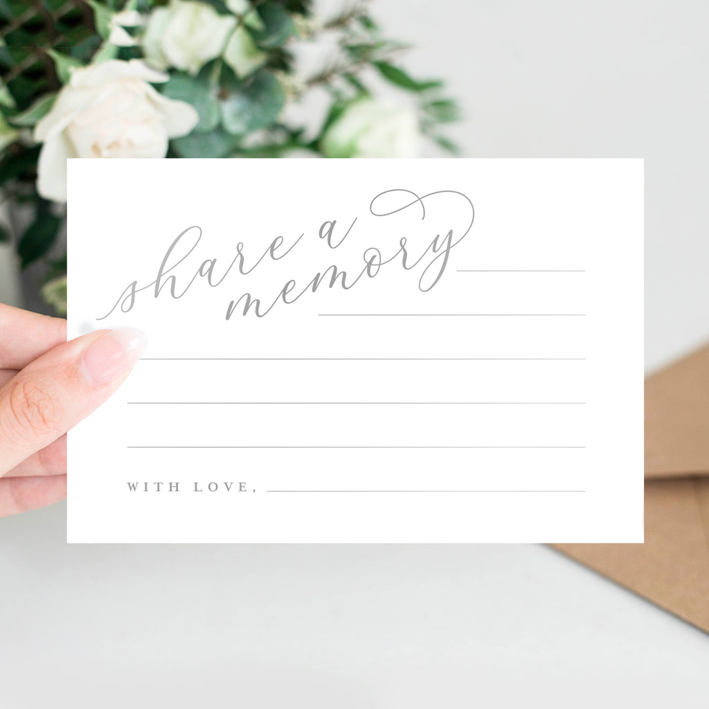 Silver Share A Memory Cards - Perfect for: Funeral, Celebration of Life, Memorial, Retirement, Going Away Party, Birthday, Graduation, Wedding, 50 Pack of 4x6 Cards