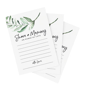 Greenery Share A Memory Cards - Perfect for: Funeral, Celebration of Life, Memorial, Retirement, Going Away Party, Birthday, Graduation, Wedding, 50 Pack of 4x6 Cards