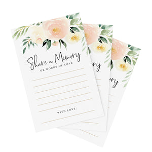 Blush Floral Share a Memory Cards for the Bride and Groom, Perfect for: Bridal Shower, Baby Shower, Graduation, Wedding, Pack of 50 4x6 Cards