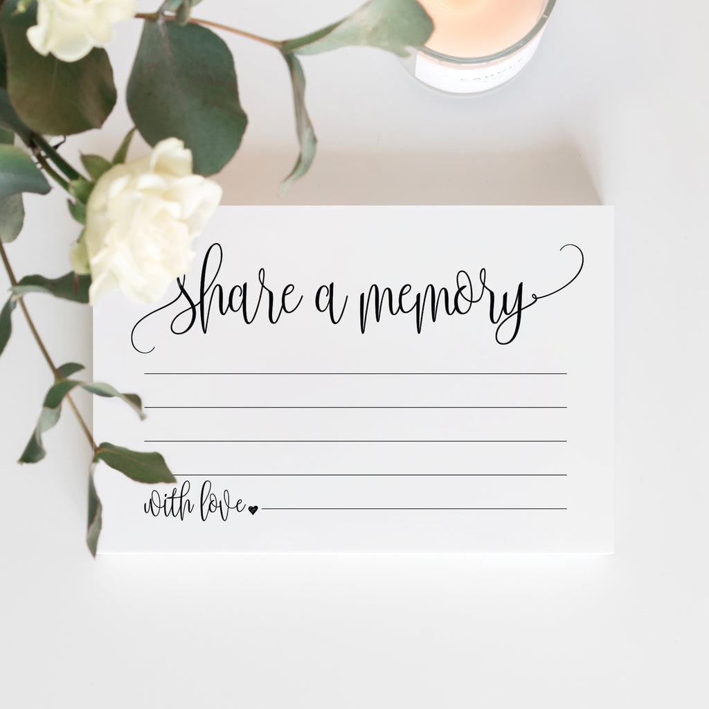 Share A Memory Cards — Perfect for: Funeral, Celebration of Life, Memorial, Retirement, Going Away Party, Birthday, Graduation — 50 Pack of 4x6 Cards
