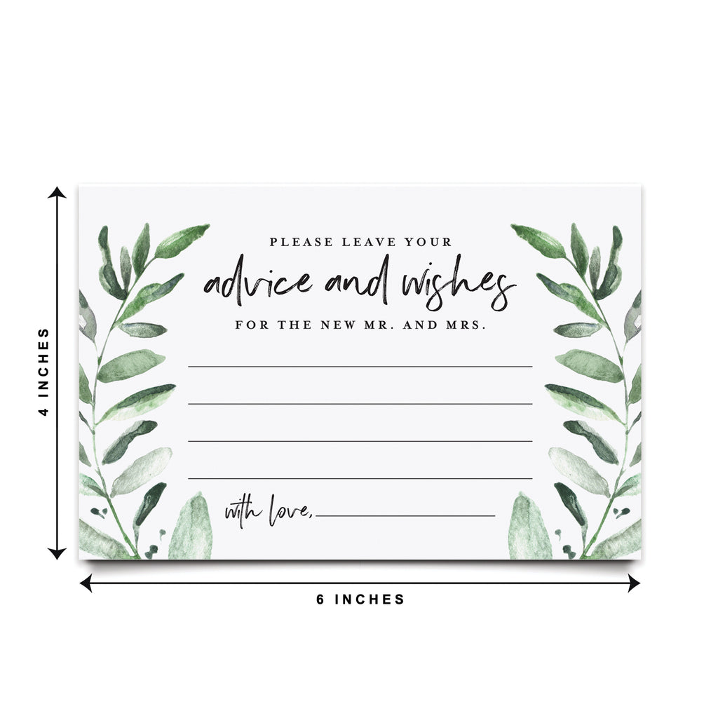 Greenery Advice and Wishes Cards for The Bride and Groom, Perfect for: Bridal Shower or Wedding, 4x6 Cards (Pack of 50) from