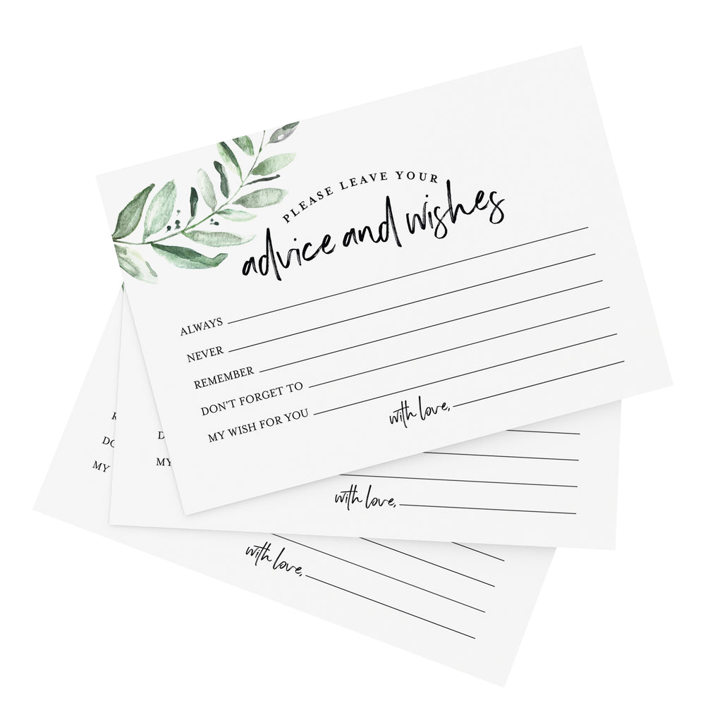 Mad Libs Advice and Wishes Cards for the New Mr and Mrs, Greenery, Bride and Groom, Newlyweds, Perfect Addition to Your Wedding Reception Decorations or Bridal Shower, Pack of 50