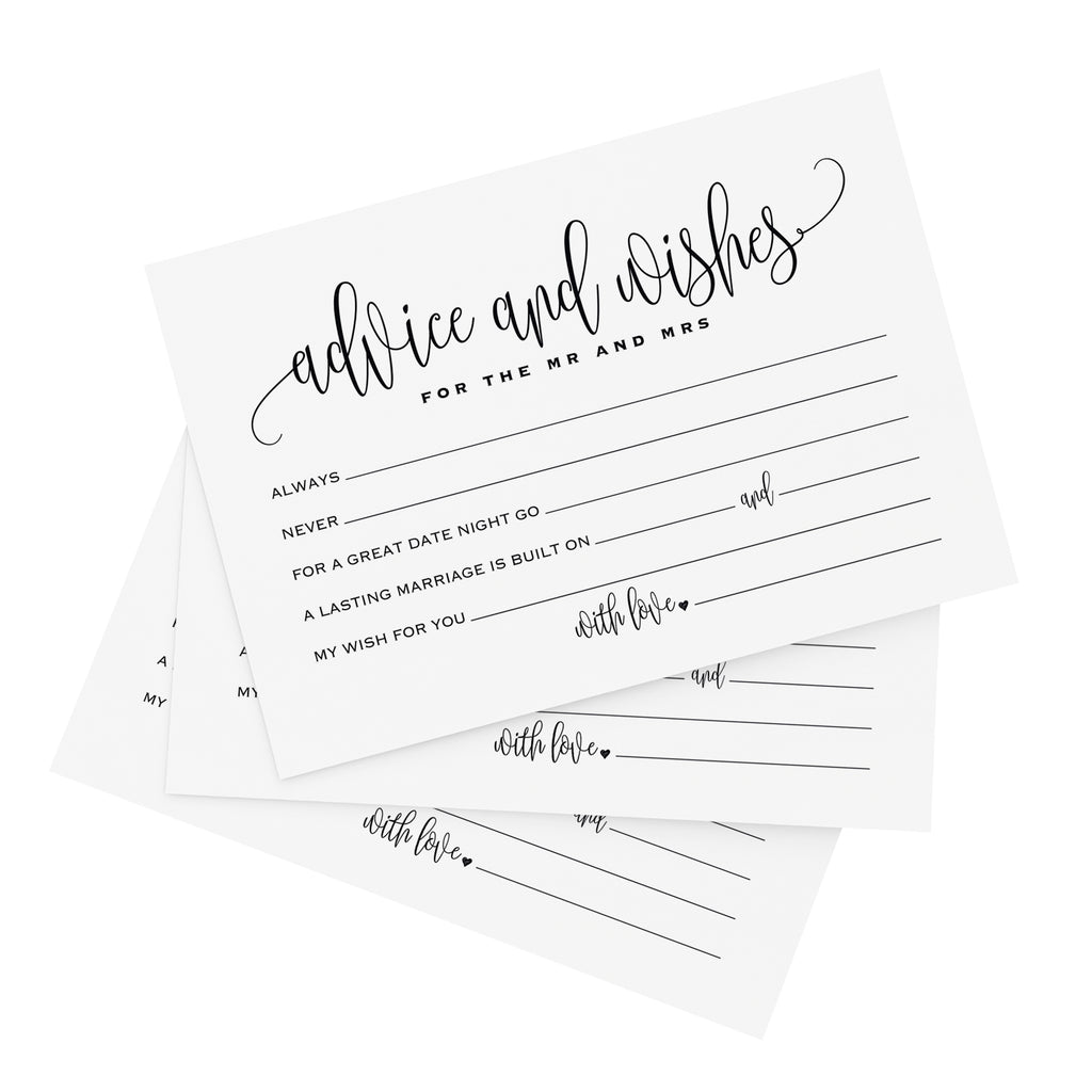 Mad Libs Advice and Wishes Cards for the Bride and Groom