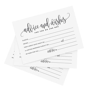 Mad Libs advice and wishes cards for the new Mr and Mrs, Bride and Groom, Newlyweds — Perfect addition to your wedding reception decorations or bridal shower — 4x6 cards (Pack of 50)