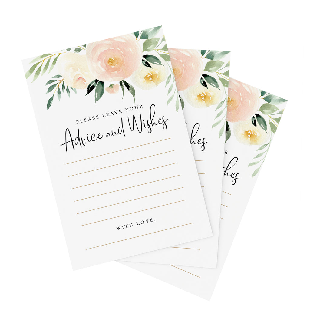 Blush Floral Advice and Wishes Cards for The Bride and Groom, Perfect for: Bridal Shower, Baby Shower, Graduation, Wedding, 4x6 Cards (Pack of 50)