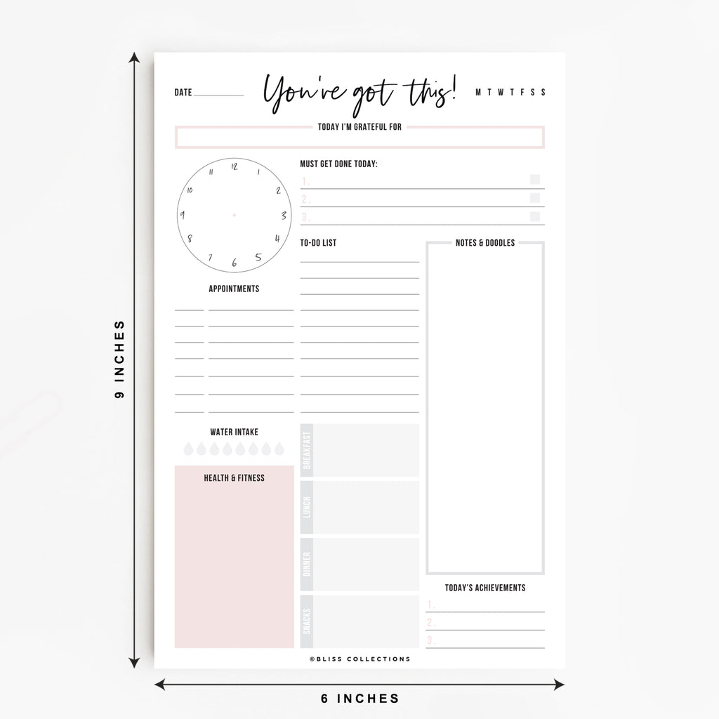 Daily Planner Tear Off Pad, 50 Undated Sheets, Desk Notepad, Motivational Daily Calendar, Task Planner, To Do List, Productivity Schedule Organizer, Meal Planner, 6x9 Vertical Orientation