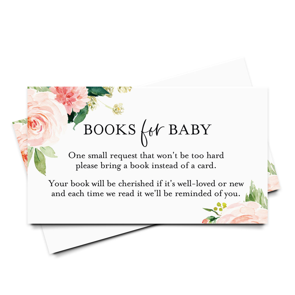 Book Request Cards for Baby Shower, Boho Floral Books for Baby Insert, Pink flower design, Girl, from Bliss Collections (50 Pack)