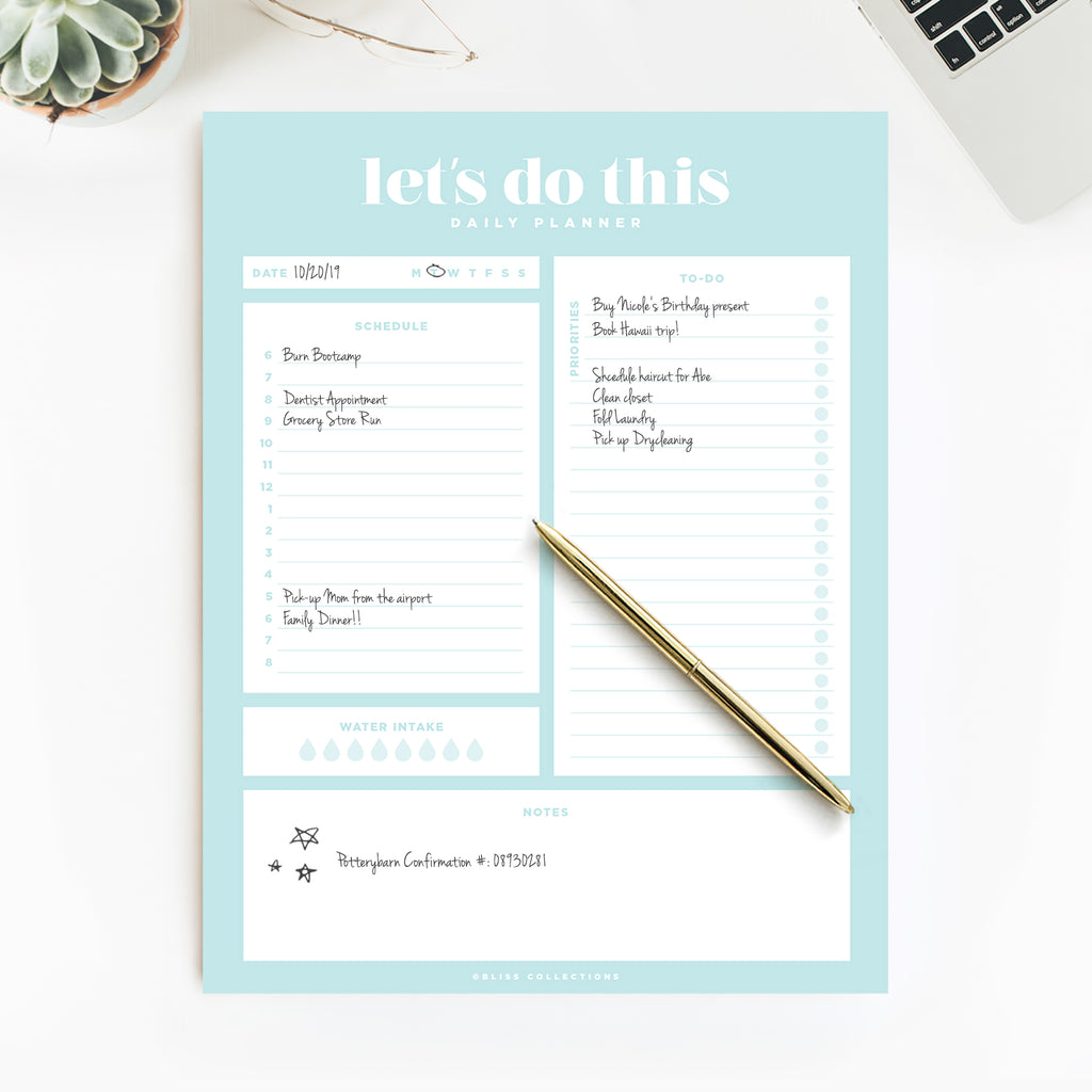Let's Do This Daily Planner Tear Off Pad, 50 Undated Sheets, Desk Notepad, Let's Do This Daily Calendar, Schedule, Task Planner, To Do List, Priorities, Water Intake Tracker