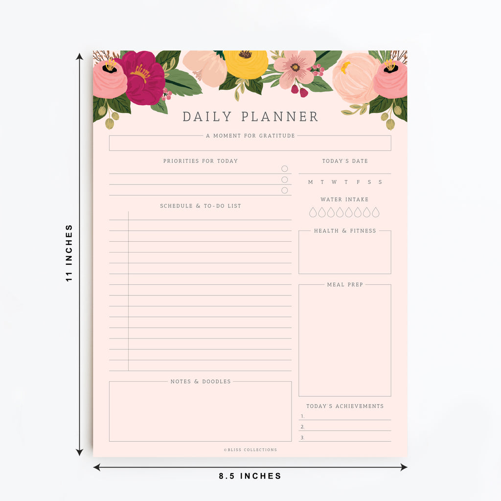 Blush Floral Daily Planner Tear-Off Pad, 50 Undated Sheets, Desk Notepad, Calendar, Task Planner, To-Do List, Productivity Schedule Organizer, Water Tracker, Meal Prep, 8.5x11