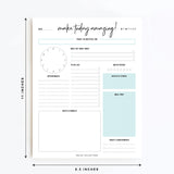Daily Planner Tear Off Pad, 50 Undated Sheets, Desk Notepad, Motivational Daily Calendar, Task Planner, To Do List, Productivity Schedule Organizer, Meal Planner, 8.5x11