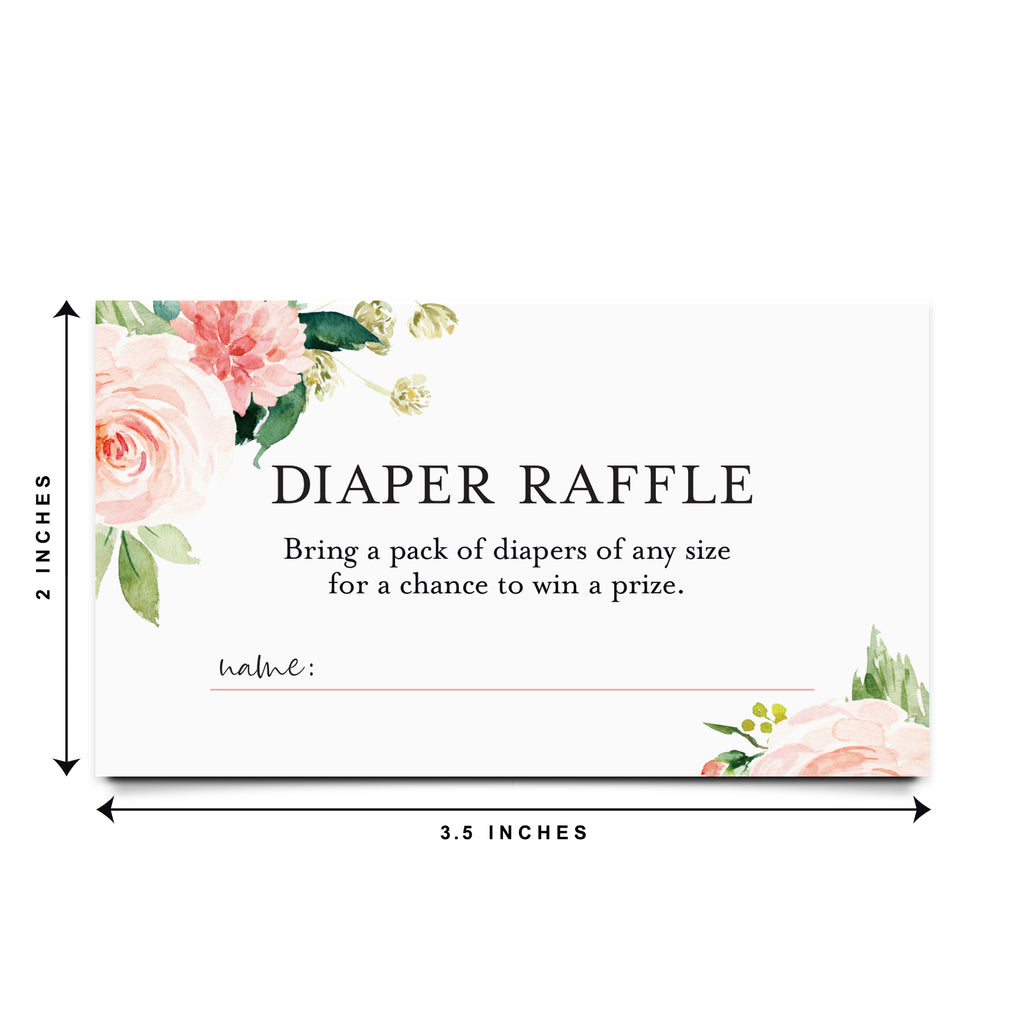 Diaper Raffle Tickets for Baby Shower, Boho Floral Game Insert, Pink flower design, Girl, from Bliss Collections (50 Pack)