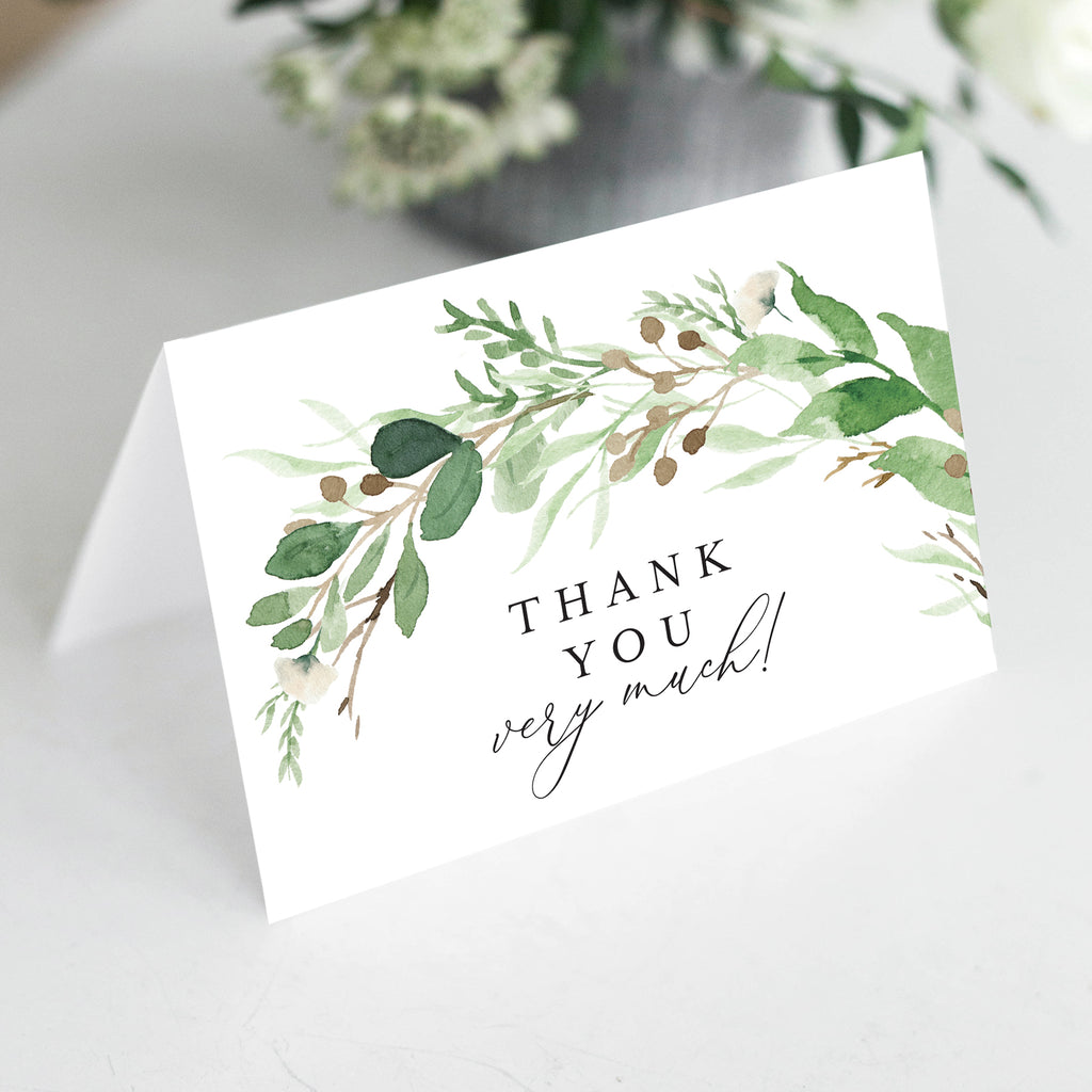 Greenery Eucalyptus Thank You Cards with Kraft Envelopes, 4x6 Folded, Tented Style, For Wedding, Shower or Event (25 Pack)