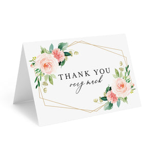 Geometric Floral Thank You Cards with Envelopes, 4x6 Folded, Tented Style, Wedding, Baby Shower or just to say Thank You (25 Pack)