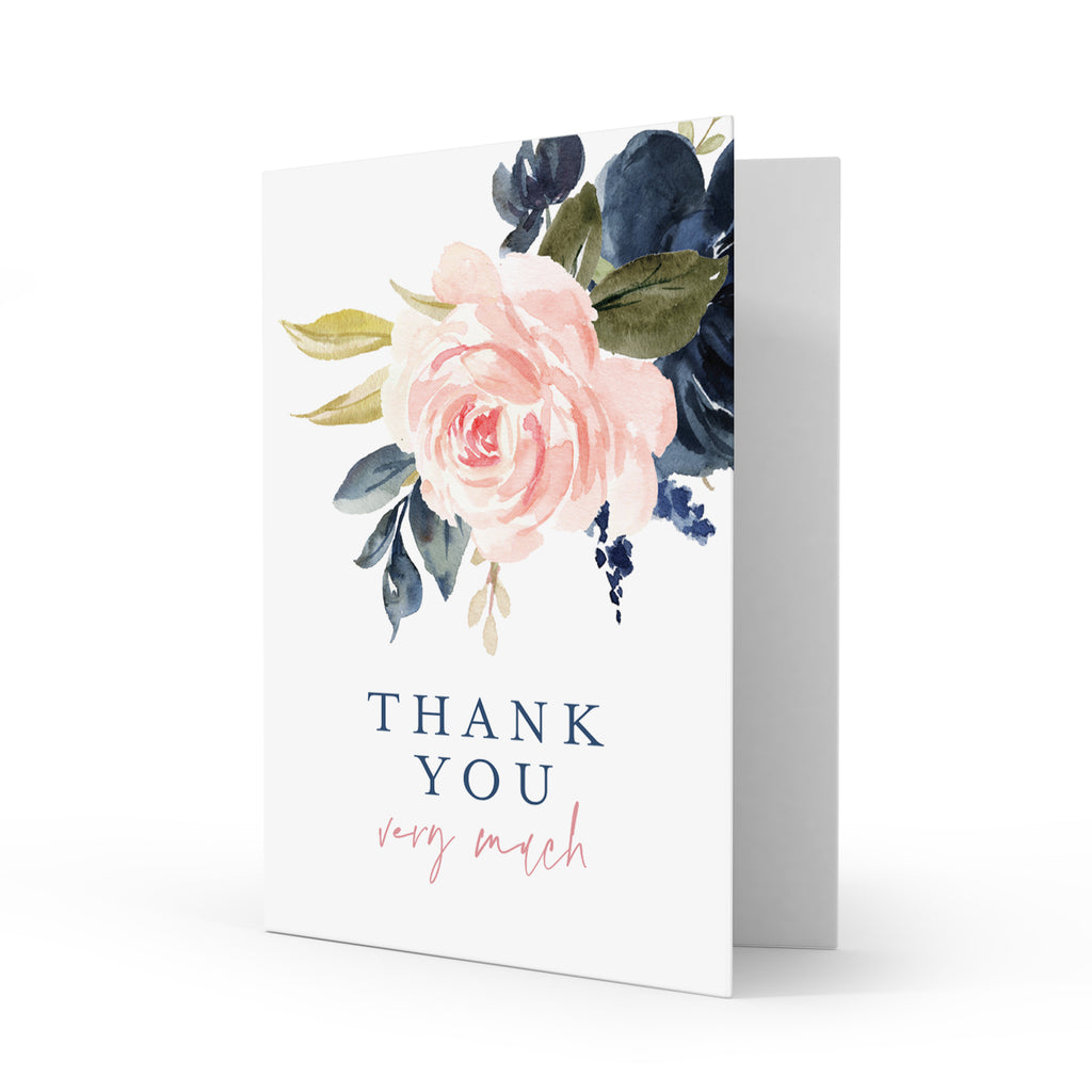 Navy Pink Floral Thank You Cards with Envelopes, 4x6 Folded, Tented Style, Wedding, Baby Shower or just to say Thank You (25 Pack)