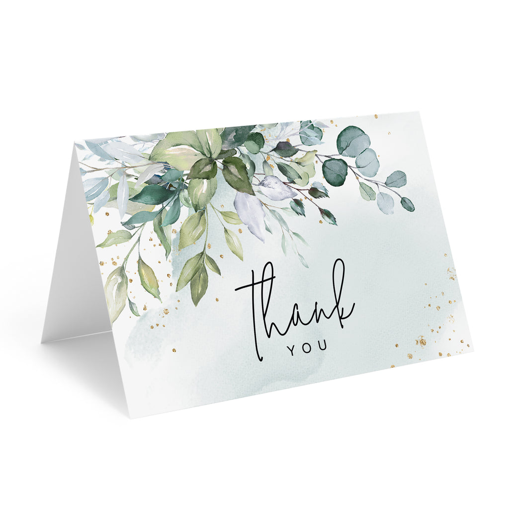 Greenery Watercolor Thank You Cards with Kraft Envelopes, 4x6 Folded, Tented Style, For Wedding, Shower or Event (25 Pack)