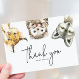 Woodland Forest Animals Thank You Cards with Envelopes, 4x6 Folded, Tented Style for Girl, Boy, Gender Neutral Baby Shower (25 Pack)