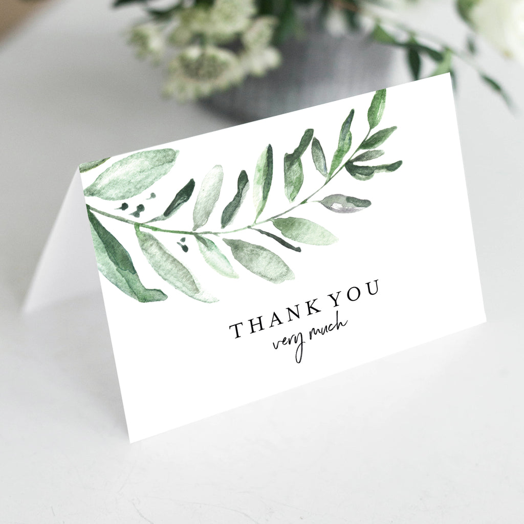 Greenery Thank You Cards with Envelopes, 4x6 Folded, Tented Style, Perfect For Wedding, Shower or just to say Thank You (25 Pack)