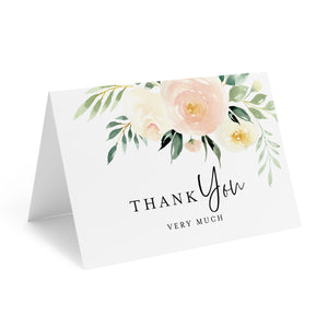 Blush Floral Thank You Cards with Envelopes, 4x6 Folded, Tented Style, For Wedding, Shower or just to say Thank You (25 Pack)