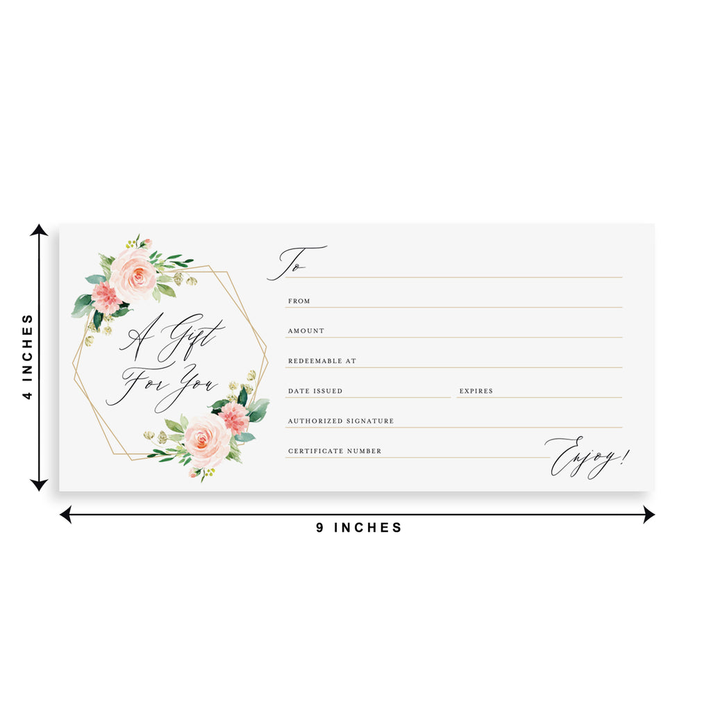 Geometric Floral Gift Certificate Cards, Blank Fill-in Vouchers for Small Businesses: Spa, Salon, Photographers & More! 4x9, (25 Pack)