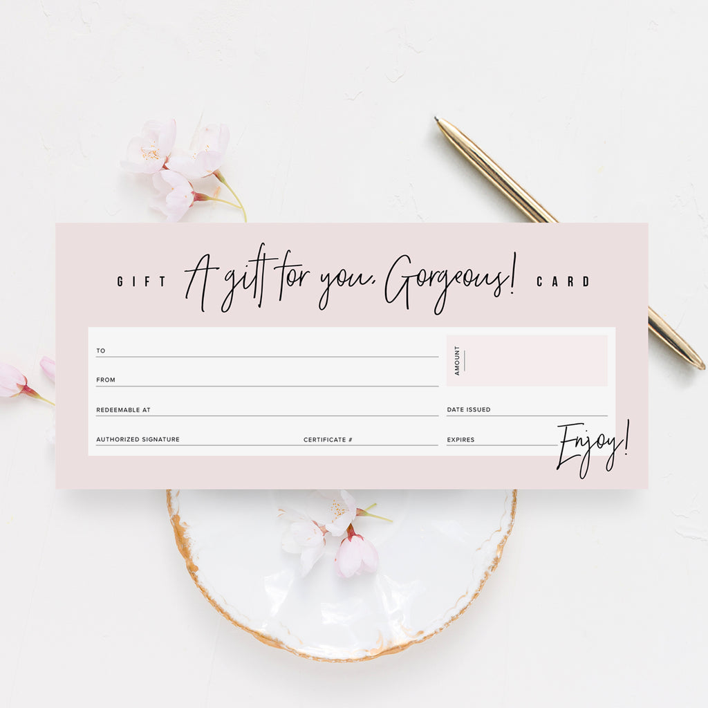 Hello Gorgeous Gift Certificate Cards, Pink Design, Blank Fill-in Vouchers for Small Businesses: Spa, Salon, Photographers & More! 4x9, (25 Pack)