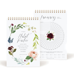 Habit Tracker Calendar Notepad, Gold Spiral Bound Botanical Floral Journal to track progress and reach your goals - Undated 12 month Journal