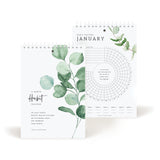 Greenery Habit Tracker Calendar Notepad, White Spiral Bound Journal to track progress and reach your goals - Undated 12 month Journal