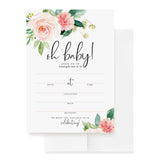 Baby Shower Invitations with Envelopes — 5x7 Oh Baby Floral Invites for girl, Boho, Pink, Blank, Fill-In, from Bliss Collections (25 Pack)