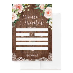 25 Rustic Wood & Floral Invitations with Envelopes for All Occasions