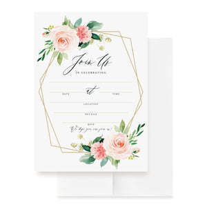 25 Geometric Floral Invitations with Envelopes for All Occasions