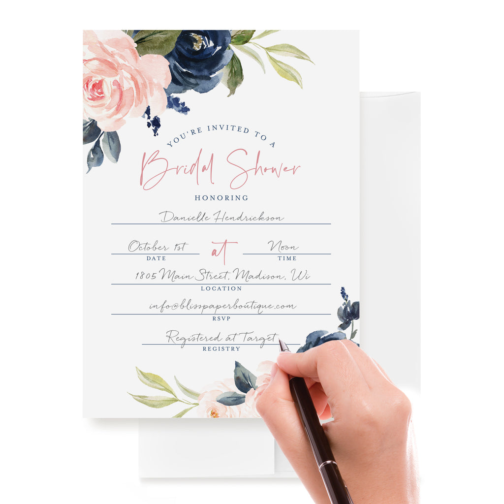 25 Bridal Shower Invitations with Envelopes - Navy, Pink, Coral and Greenery Watercolor Floral Fill-in Style invites (25 Pack)