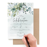 25 Invitations with Envelopes for All Occasions, Greenery Watercolors Invites Perfect for: Weddings, Bridal Showers, Engagement, Birthday Party or Special Event, Blank Fill in Design