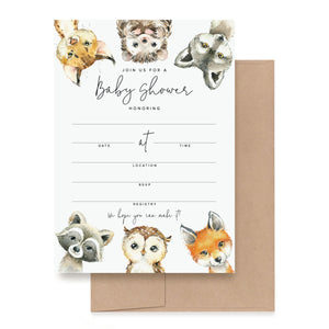 Woodland Animals Baby Shower Invitations Forest Creatures, Fox, Owl, Racoon, Wolf, Hedgehog, Bobcat — Gender Neutral, 5x7 Cards
