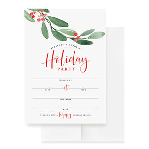 25 Holiday Party Invitations with Envelopes - Perfect Invites for Christmas, Hanukkah, Kwanzaa, New Year's or any Winter Celebration
