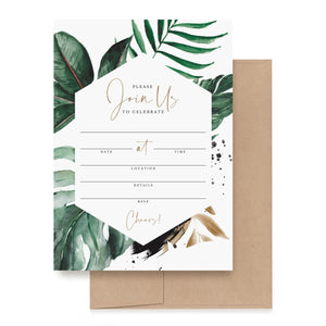 25 Tropical Greenery Invitations with Envelopes, 5-Inch-by-7-Inch Invites for Bachelorette Party, Birthday, Bridal Shower, Baby Shower, Destination Wedding, Anniversary or Special Event
