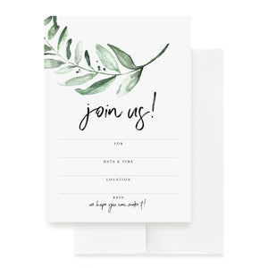 25 Invitations with Envelopes for All Occasions, Greenery Invites Perfect for: Weddings, Bridal Showers, Engagement, Birthday Party or Special Event — Fill in Rustic Invites