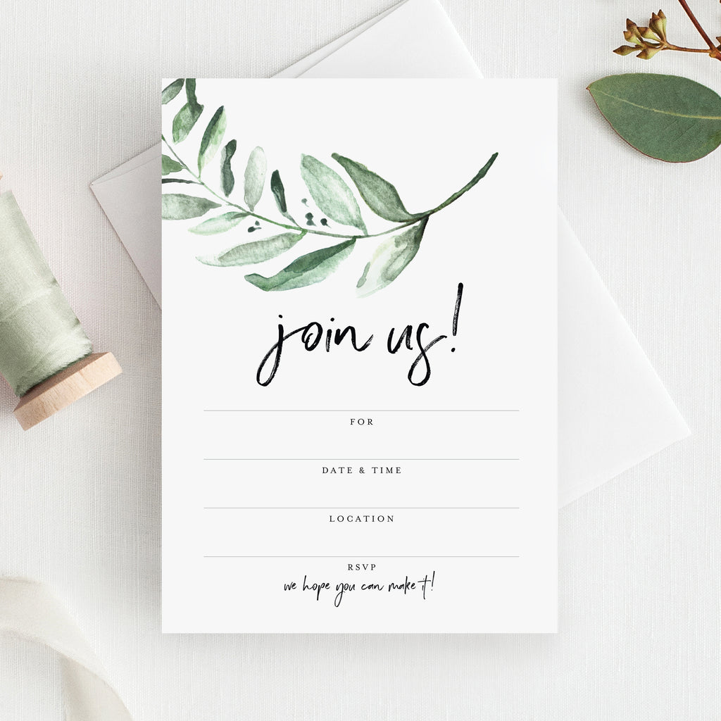25 Greenery Invitations with Envelopes for All Occasions