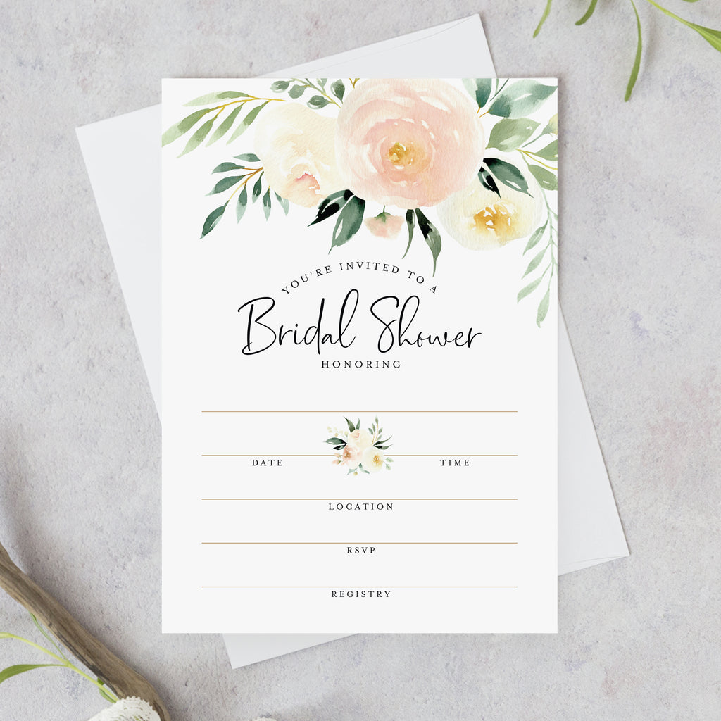 25 Bridal Shower Invitations with Envelopes — Coral and Greenery Watercolor Floral Fill-in Style invites from Bliss Collections (25 Pack)