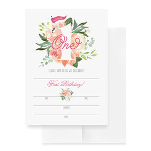 1st Birthday Invitations with Envelopes — 5x7 First Bday Party Watercolor Floral Fill-in Style invites for Girls from Bliss Collections (25 Pack)
