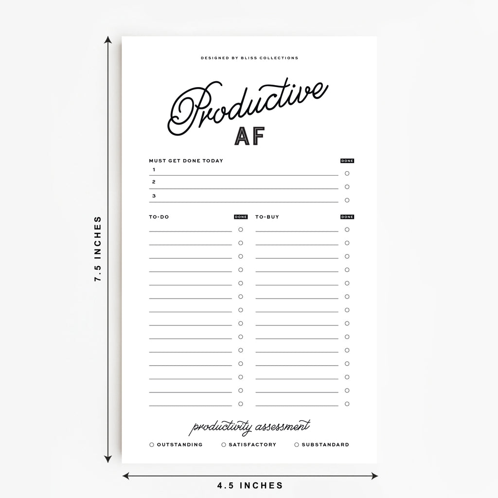 Productive AF Notepad, Unique To-Do List Notepad for priorities, tasks and shopping list, 4.5 x 7.5 inches, 50 Sheets