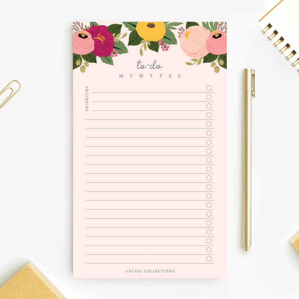 Blush Floral To Do List Notepad, 4.5 x 7.5 inches, 50 Sheets (Includes optional magnet for added convenience!)