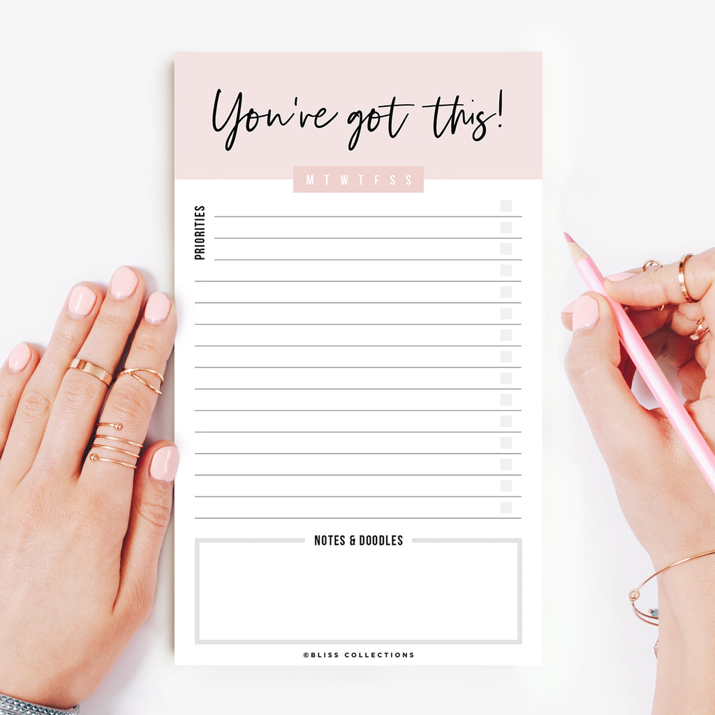 Motivational Daily to Do List Notepad, You've Got This Tear-Off Pad, Memo Pad for Shopping Lists, Reminders and Appointments, 4.5 x 7.5 inches, 50 Sheets