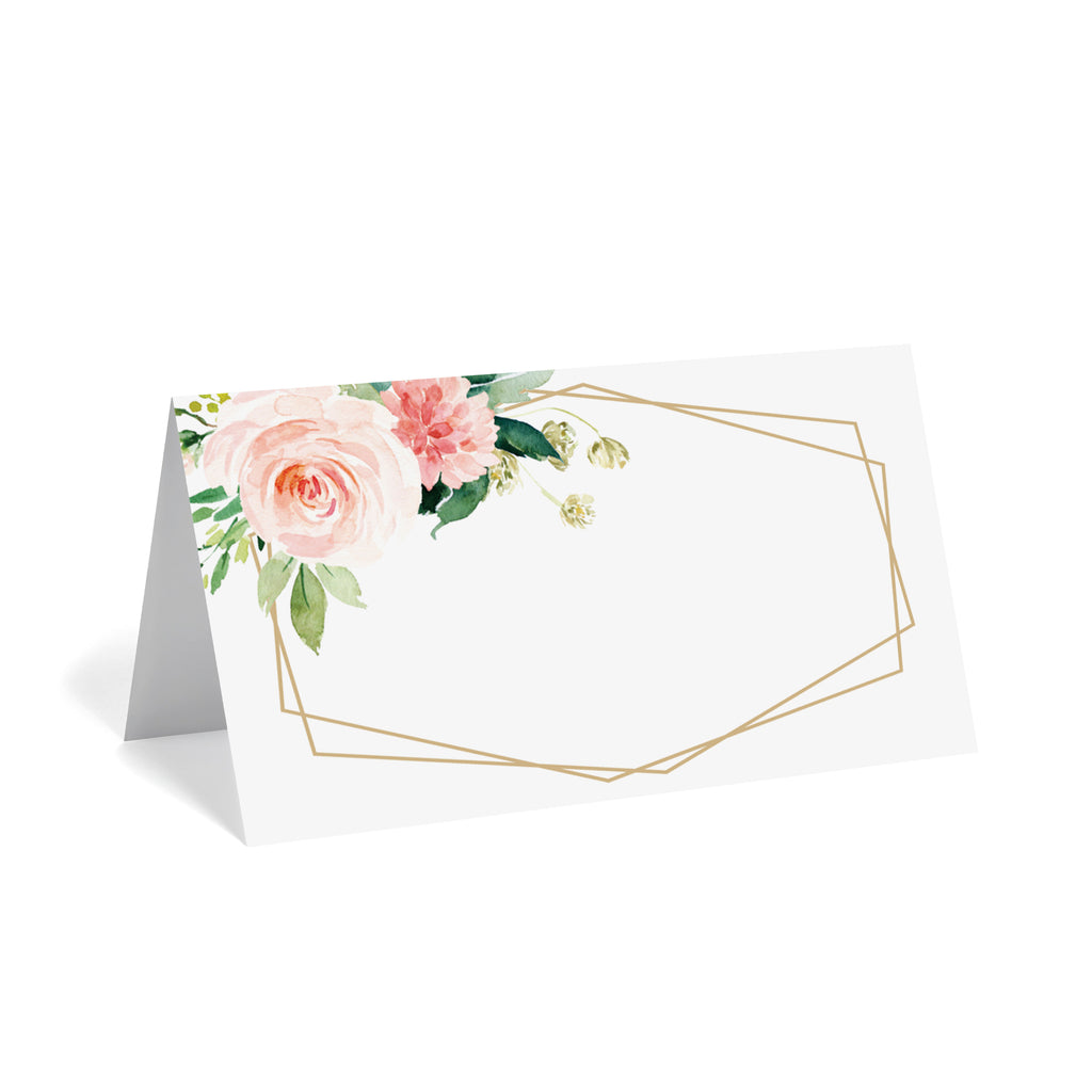 Geometric Pink & Greenery Floral Place Cards (Pack of 50)