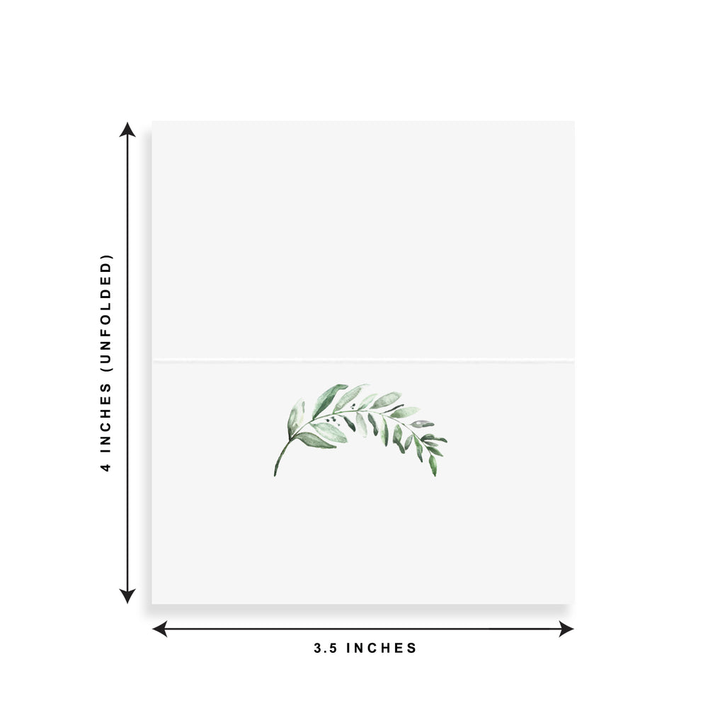 Rustic Greenery Leaf Watercolor Place Cards (Pack of 50)