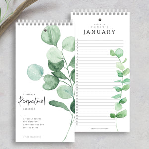 Greenery Perpetual Calendar for Birthdays and Anniversaries, 12 Month Greenery Dates to Remember Book, Journal for Important and Special Days, Wall Hanging Date Organizer, 5 x 10 inches