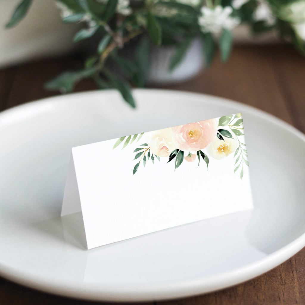 Blush Floral & Greenery Place Cards (Pack of 50)