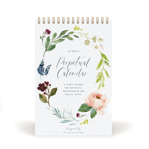 Botanical Perpetual Calendar for Birthdays and Anniversaries, 12 Month Botanical Floral Dates to Remember Book, Journal for Important & Special Days, Wall Hanging Date Organizer 6 x 9 inches