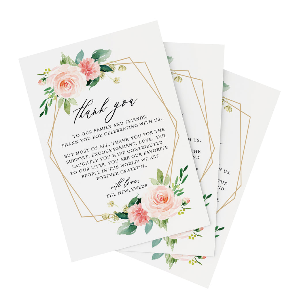 50 Geometric Floral Place Setting Thank You Cards