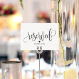 Reserved Signs for Wedding, 4x6 Reserved Table Cards, Table Setting Cards - Pack of 10