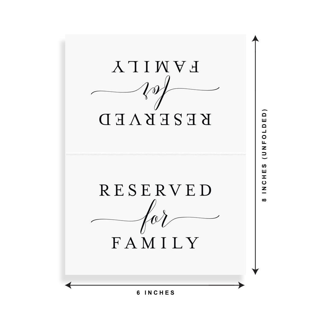 Reserved Signs for Wedding Reception, 4x6 Reserved Table Cards, Table Setting Cards - Pack of 10